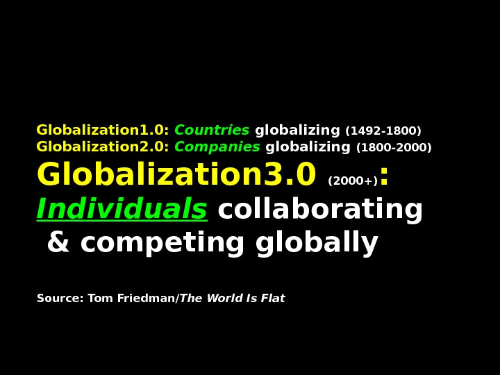 Globalization 1. 0:  Countries globalizing (1492 -1800) Globalization 2. 0:  Companies globalizing (1800 -2000)