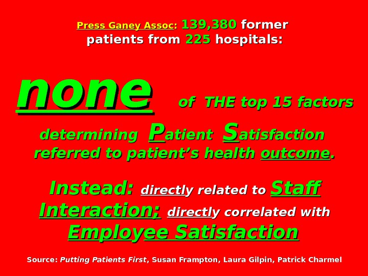 Press Ganey Assoc : : 139, 380 former patients from 225225 hospitals: none  of THE