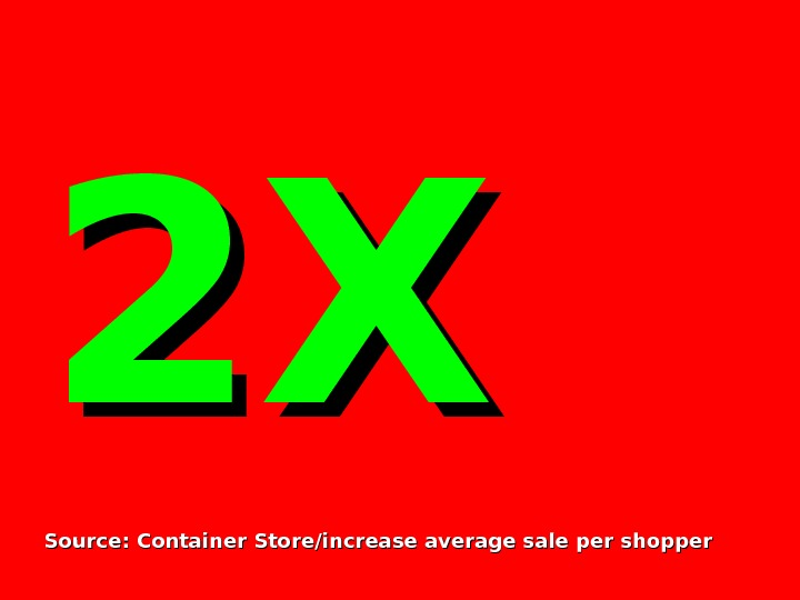 2 X 2 X Source: Container Store/increase average sale per shopper