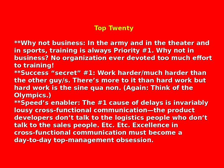Top Twenty **Why not business: In the army and