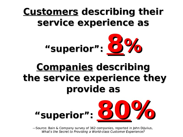 "Customers describing their service experience as ""superior"":  88  Com pp anies describing  the"