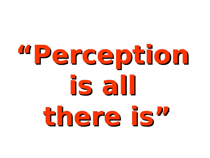 """"" Perception is all  there is"""