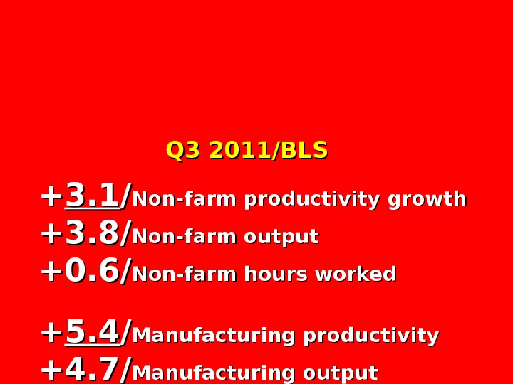 Q 3 2011/BLS ++ 3. 1 // Non-farm productivity