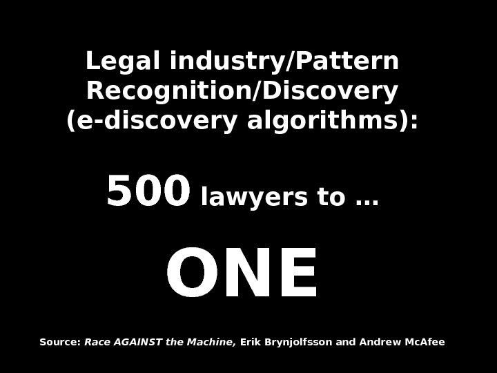Legal industry/Pattern Recognition/Discovery (e-discovery algorithms): 500500 lawyers to … ONEONE Source:  Race AGAINST the Machine,