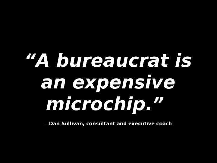 """"" A bureaucrat is an expensive microchip. ""  —— Dan Sullivan, consultant and executive coach"