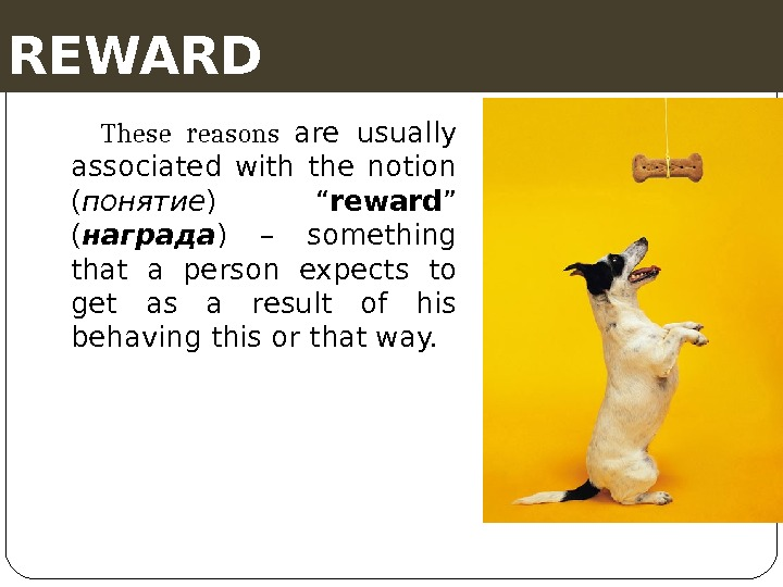 "REWARD These reasons are usually associated with the notion ( понятие ) "" reward "" ("