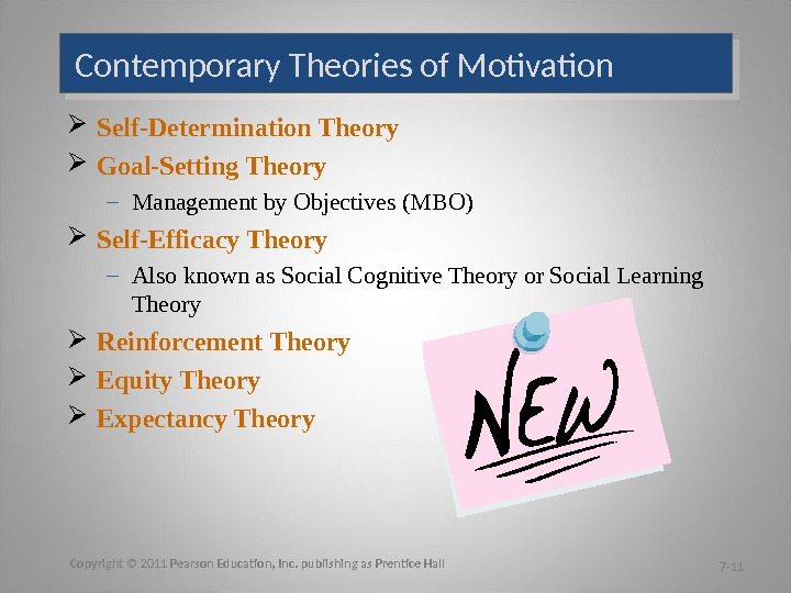 Self-Determination Theory Goal-Setting Theory – Management by Objectives (MBO) Self-Efficacy Theory – Also known as