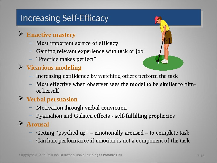 Increasing Self-Efficacy Enactive mastery – Most important source of efficacy – Gaining relevant experience with task