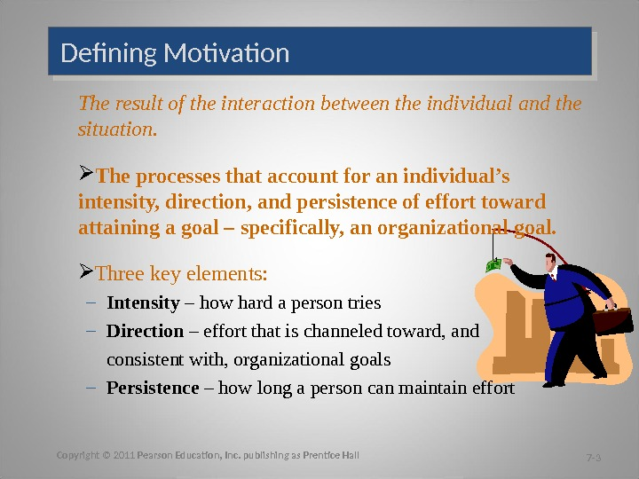 Defining Motivation The result of the interaction between the individual and the situation.  The processes
