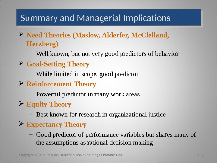Summary and Managerial Implications Need Theories (Maslow, Alderfer, Mc. Clelland,  Herzberg) – Well known, but
