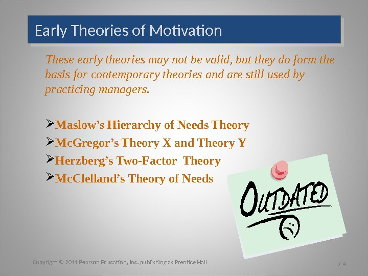 Early Theories of Motivation These early theories may not be valid, but they do form the