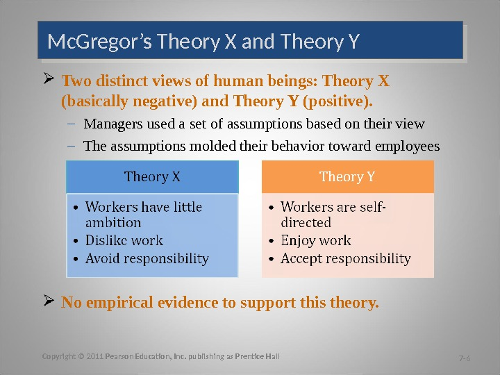 Mc. Gregor's Theory X and Theory Y Two distinct views of human beings: Theory X (basically