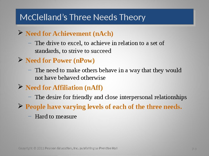 Mc. Clelland's Three Needs Theory Need for Achievement (n. Ach) – The drive to excel, to