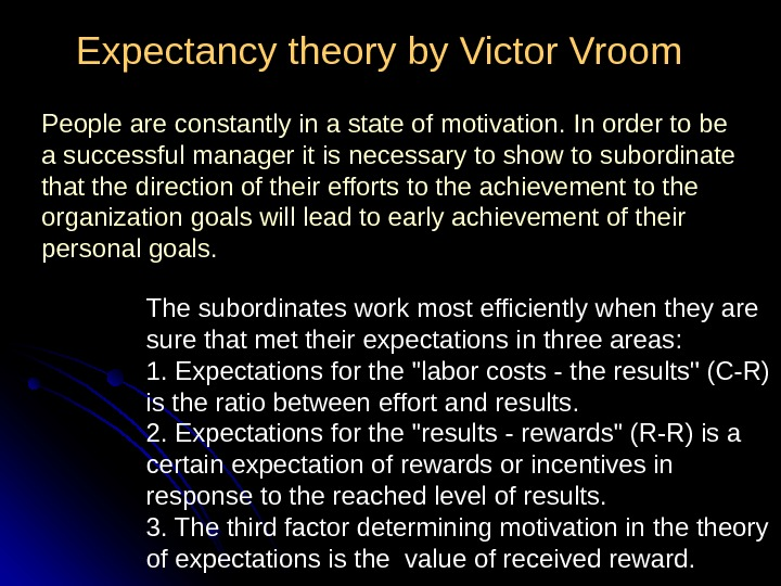 Expectancy theory by Victor Vroom The subordinates work most efficiently when they are sure that met