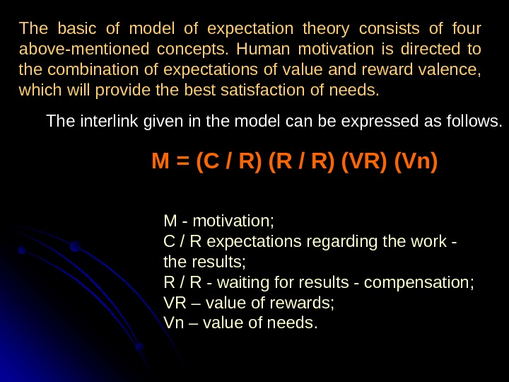 The basic of model of expectation theory consists of four above-mentioned concepts.  Human motivation is