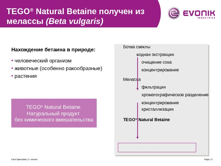 Care Specialties| 1 st version Page | 3 TEGO ® Natural Betaine получен из мелассы (Beta