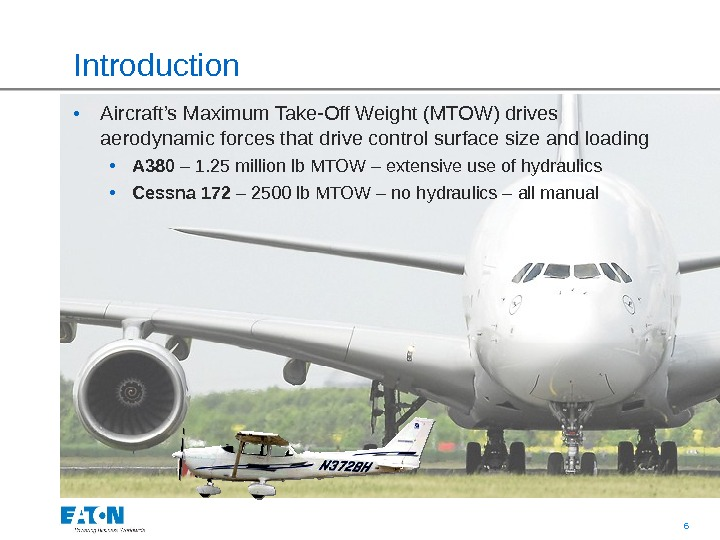 6 Introduction  • Aircraft's Maximum Take-Off Weight (MTOW) drives aerodynamic forces that drive control surface