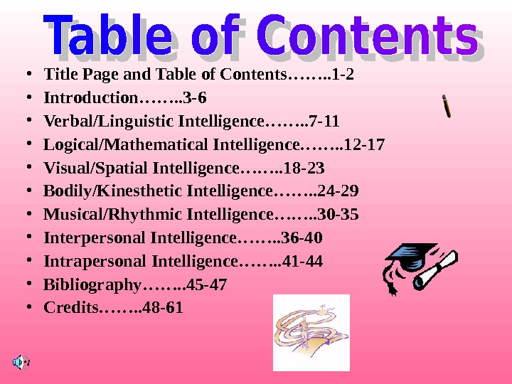 • Title Page and Table of Contents……. . 1 -2 • Introduction……. . 3