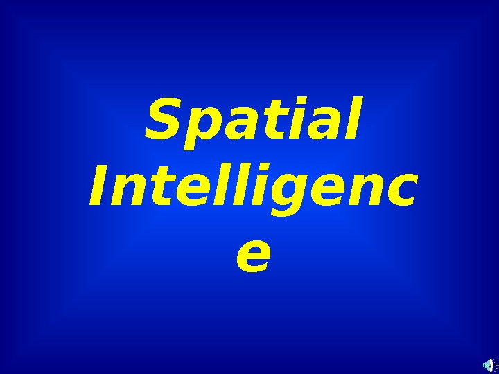 Spatial Intelligenc e