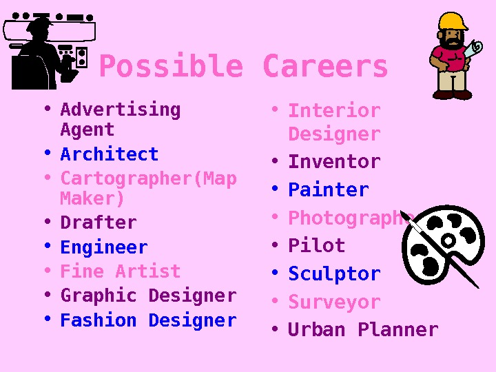 Possible Careers • Advertising Agent • Architect • Cartographer(Map Maker) • Drafter • Engineer