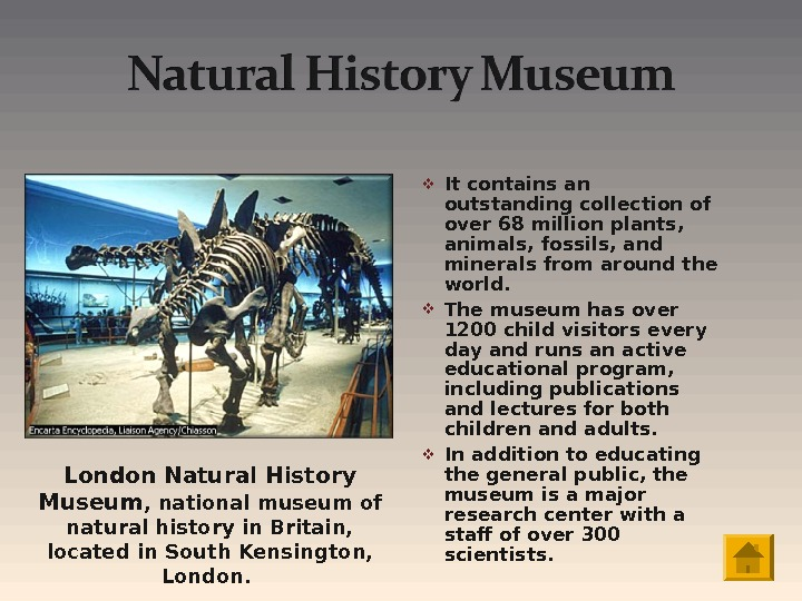 It contains an outstanding collection of over 68 million plants,  animals, fossils, and minerals