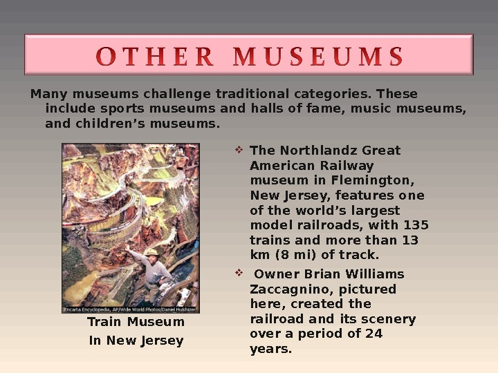 Manymuseumschallenge traditional categories. These include sports museums and halls of fame, music museums,  and children's
