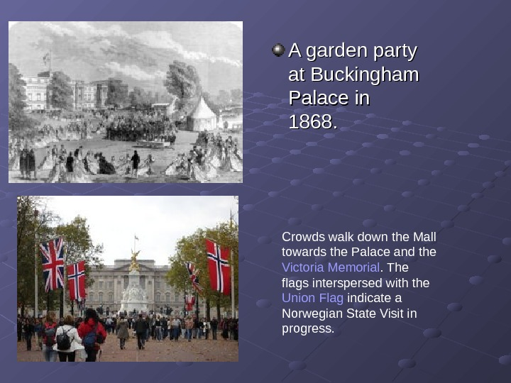 A garden party at Buckingham Palace in 1868. Crowds walk down the Mall towards