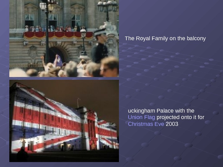 The Royal Family on the balcony uckingham Palace with the Union Flag projected onto