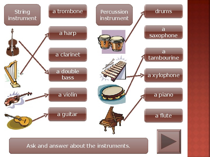 String instrument a trombone a harp a clarinet a violina double bass a guitar Percussion instrument