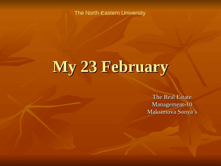 My 23 February The Real Estate Management-10 Maksimova Sonya's. The North-Eastern University