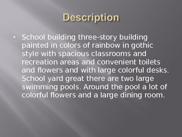 School building three-story building painted in colors of rainbow in gothic  style with spacious