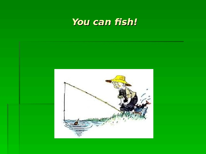 You can fish!