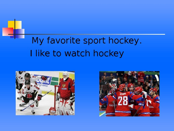 My favorite sport hockey.  I like to watch hockey