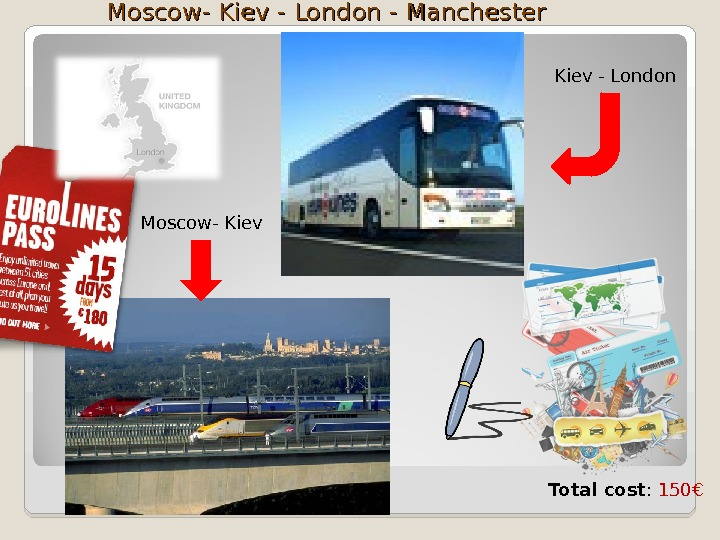 Moscow- Kiev - London - Manchester Moscow- Kiev - London Total cost :  150 €