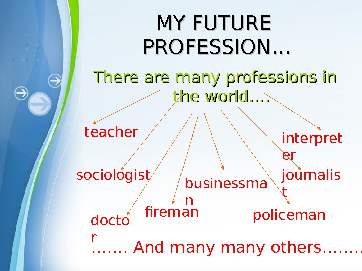 Powerpoint Templates MY FUTURE PROFESSION… There are many professions in the world…. teacher sociologist docto r