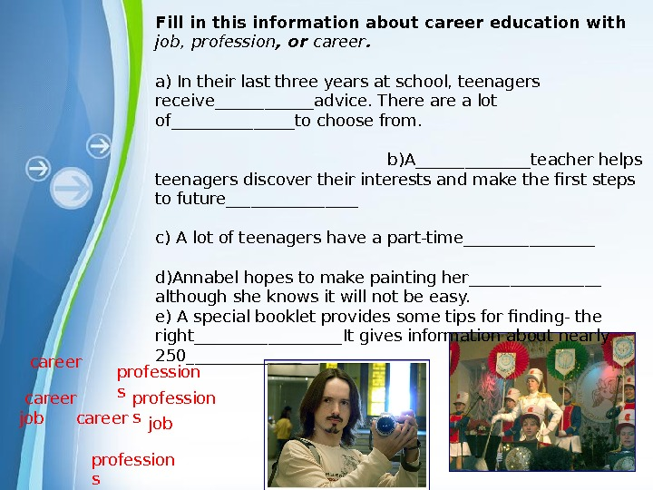 Powerpoint Templatescareer profession s jobprofession scareer Fill in this information about career education with job,
