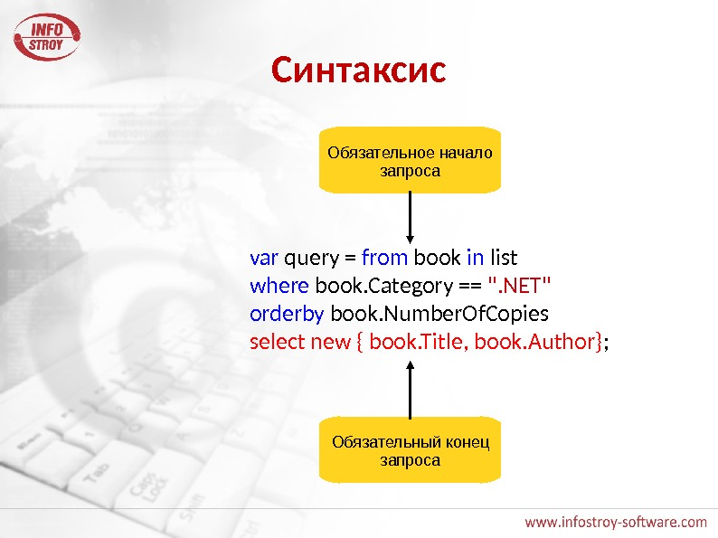 Синтаксис var query = from book in list where book. Category == . NET orderby book.