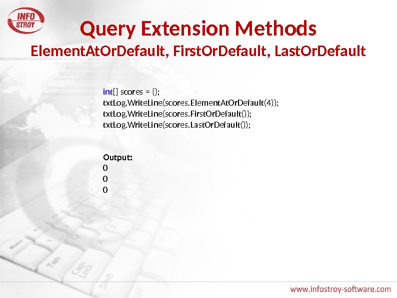 Query Extension Methods Element. At. Or. Default, First. Or. Default, Last. Or. Default int [] scores