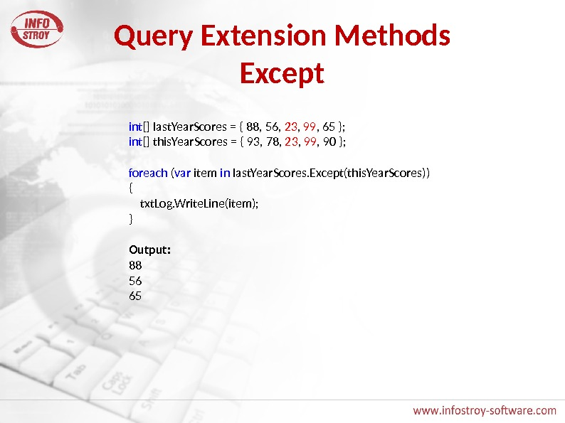 Query Extension Methods Except int [] last. Year. Scores = { 88, 56,  23 ,