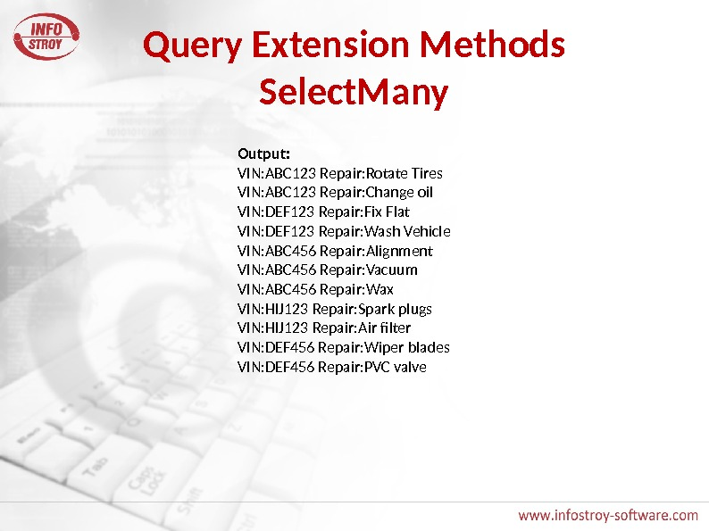 Query Extension Methods Select. Many Output: VIN: ABC 123 Repair: Rotate Tires VIN: ABC 123 Repair: