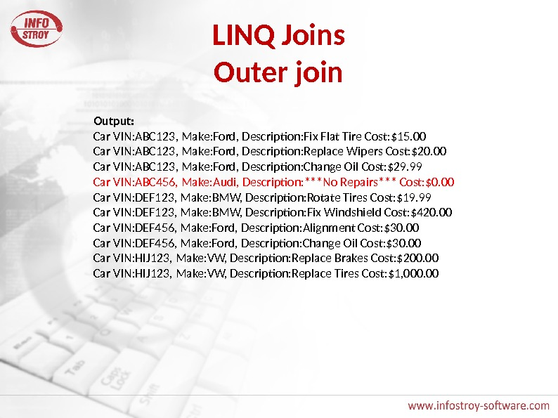 LINQ Joins Outer join Output: Car VIN: ABC 123, Make: Ford, Description: Fix Flat Tire Cost: