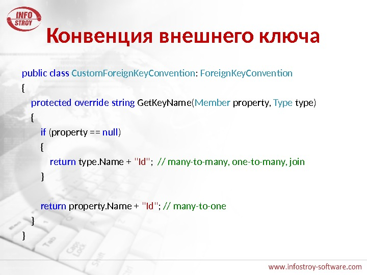 Конвенция внешнего ключа public  class  Custom. Foreign. Key. Convention :  Foreign. Key. Convention
