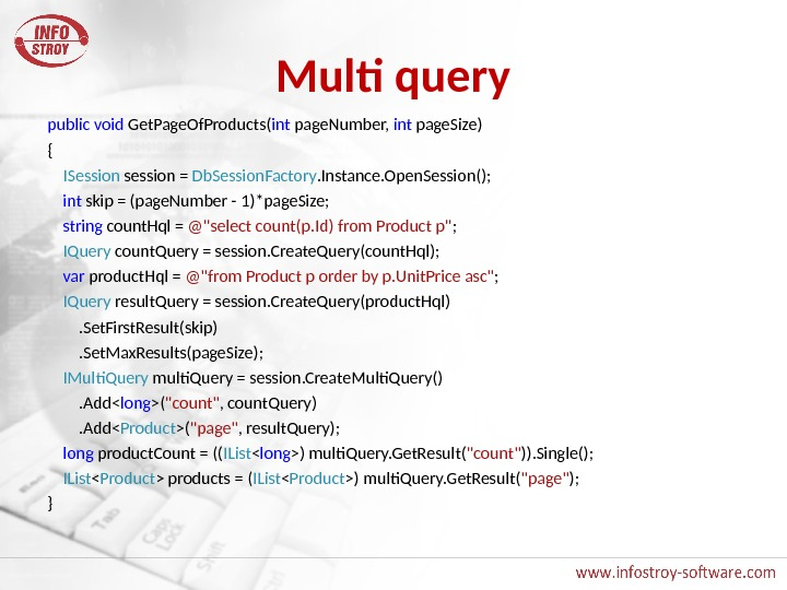 Multi query public  void Get. Page. Of. Products( int page. Number,  int page. Size)