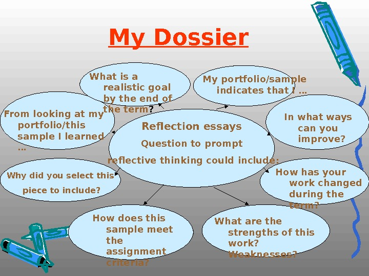 My Dossier  Reflection essays Question to prompt  reflective thinking could include: Why did