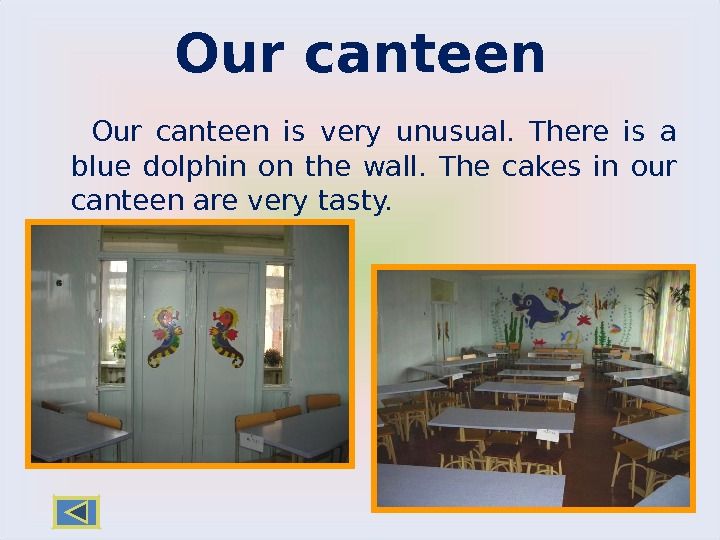 Our canteen is very unusual.  There is a blue dolphin on the wall.  The