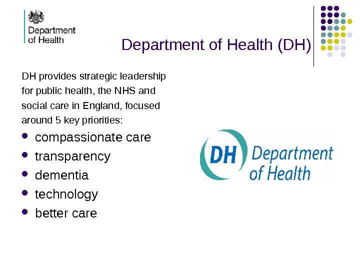 Department of Health (DH) DH provides strategic leadership for public  health,