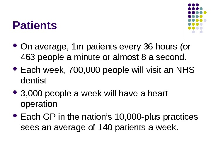 Patients On average, 1 m patients every 36 hours (or 463 people a minute