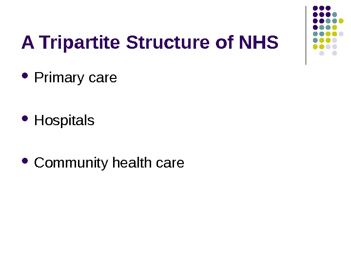 A Tripartite Structure of NHS Primary care  Hospitals Community health care