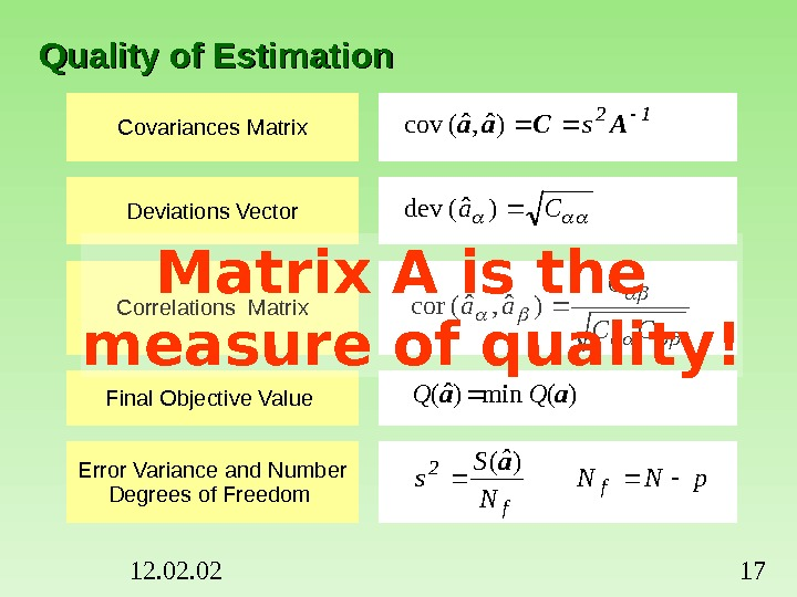 12. 02 17 Quality of Estimation Covariances Matrix Deviations Vector Correlations Matrix Final Objective Value Error