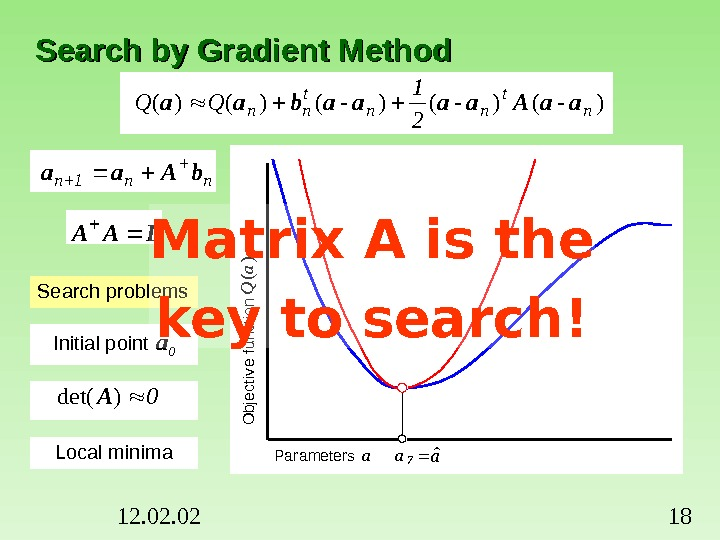 12. 02 18 Search by Gradient Method)-()-()-()()(n t nn 2 1 QQaa. Aaaaabaa Search problems Initial